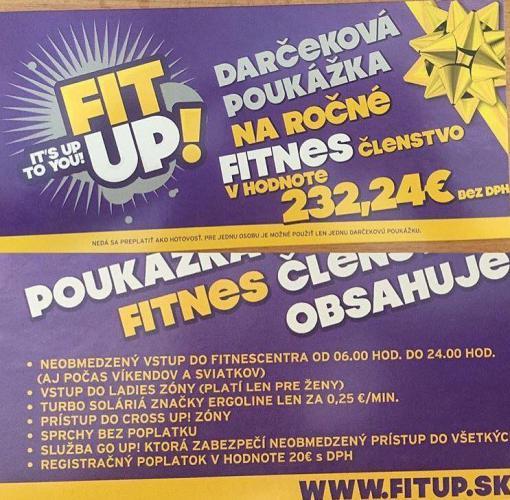 Ročné člensto fitness centrum FITUP!