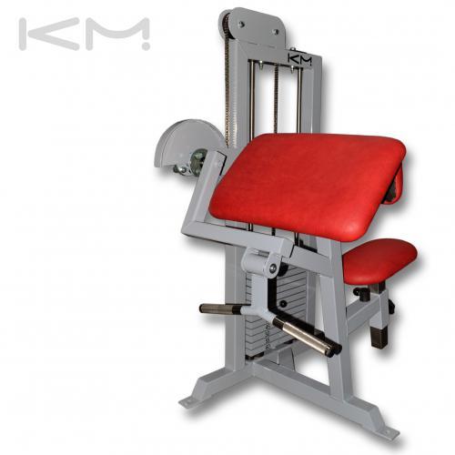 Biceps v sedě s cihličkovou zátěží