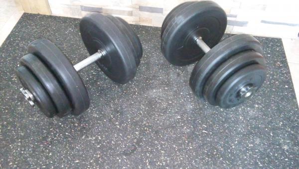 Jednoruční nakládací činkový set 2 x 11 kg