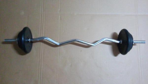 Nakládací činka EZ biceps 40 kg pogumované kotouče