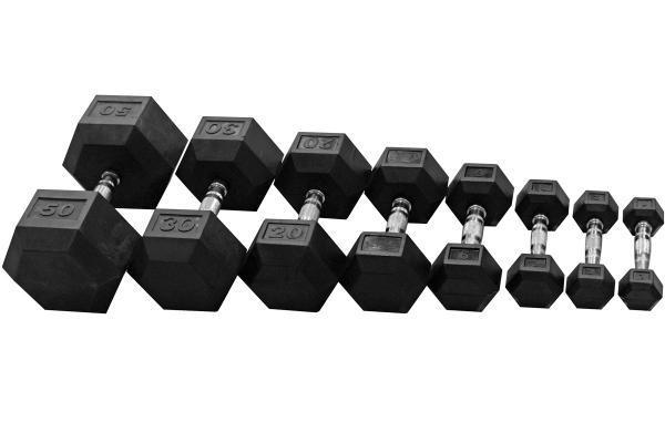 Sada jednoruček pogumovaných HEXA 10 až 50 kg
