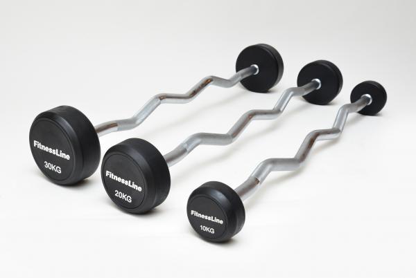 Bicepsové EZ činky pogumované