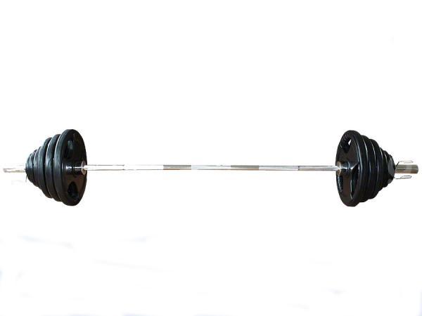 Olympijská činka s pogumovanými kotouči -  127,5 kg